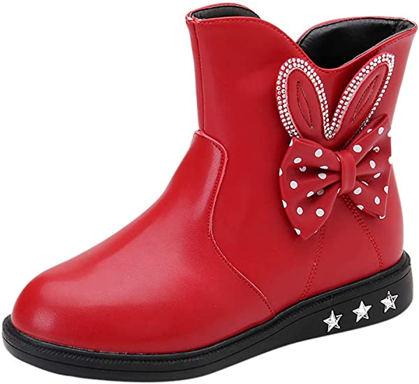 Kauneus Girls Round Toe Lovely Rabbit Side Zipper Winter Boots Anti Slip Leather Snow Boot Toddler Little Kid Big Kid