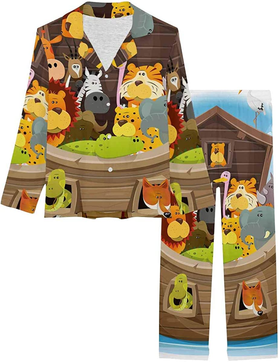 InterestPrint Soft Nightwear Loungewear with Long Pants Pajamas Set Noah's Ark with Cute Animals