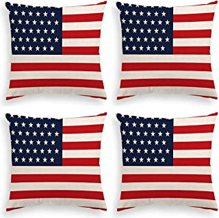 Victoryhome 4th of July Pillow Cover, Independence Day Pillow Cover, Patriotic Pillow Covers, American Flag Throw Pillow C...