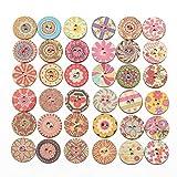 falllea 200 Piezas de 20 mm Colores Mezclados Redondos Botones de Madera con 2 Agujeros Estilo Vinta...