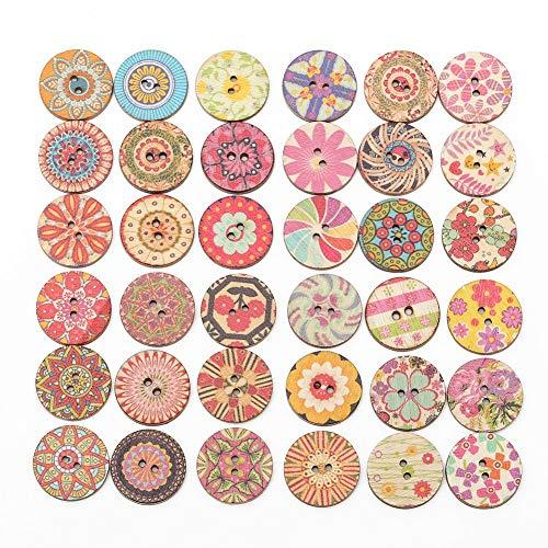 falllea 200 Piezas de 20 mm Colores Mezclados Redondos Botones de Madera con 2 Agujeros Estilo Vintage Botones Redondos de Madera para Manualidades Costura DIY Scrapbooking Artesanía