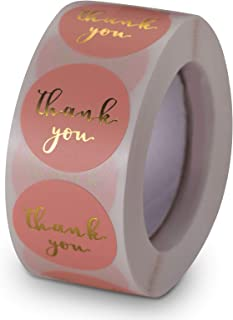 MRIMAYA Pink Thank You Stickers 500pcs A Roll, 2.5cm Gold Foil Small Business Label Cute Paper Mail Stickers for Envelope ...