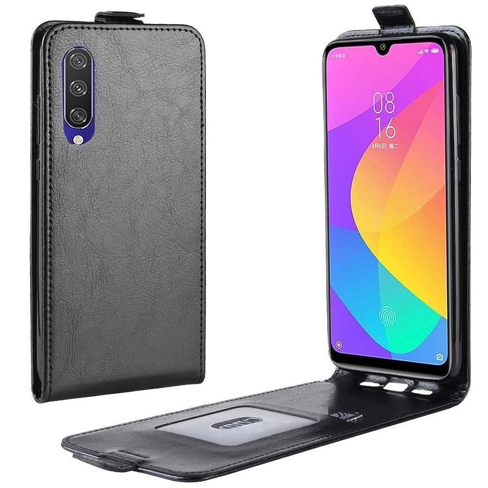 ゼロ数学リットル小米科技MI CC9e / MI A3クレイジーホース垂直フリップレザー保護ケースのための携帯電話ケース brand:TONWIN (Color : 白)