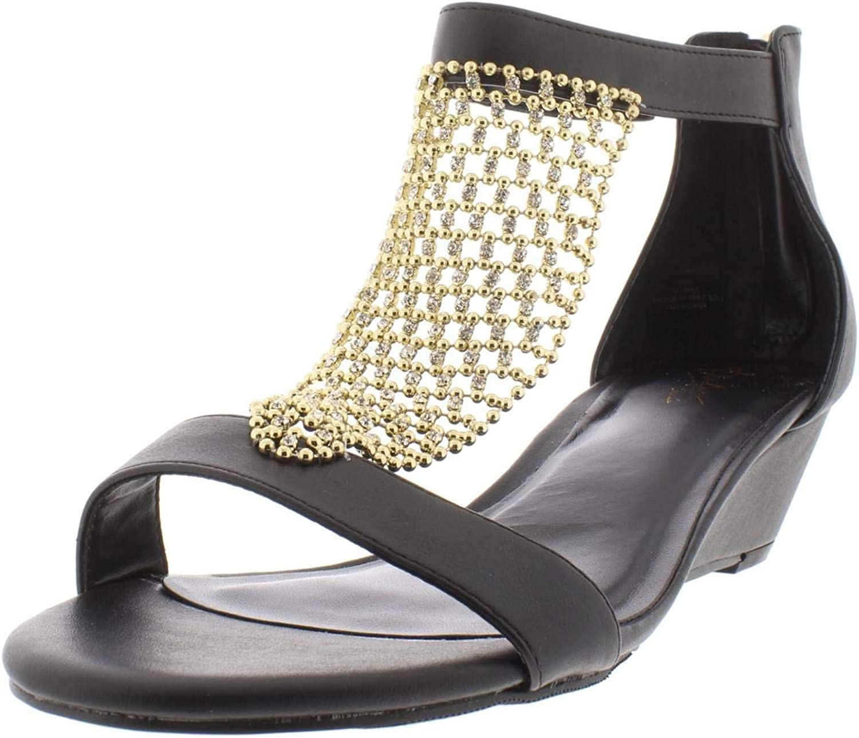 Thalia Sodi Womens Tibby Evening T-Strap Wedge Sandals Black 7.5 Wide (C,D,W)