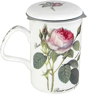 Roy Kirkham Redoute Rose Tea Mug with Infuser and Lid Bone China England
