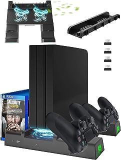 Likorlove PS4 Supporto Verticale, [Ventola di Raffreddamento] [Stazione di Ricarica per Dual Controller] per PS4 / PS4 Sli...