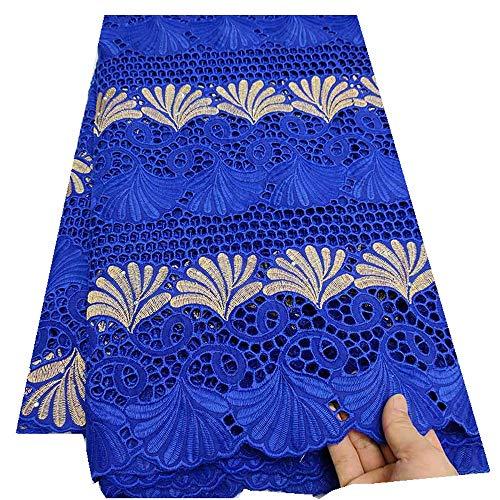 Para el vestido de fiesta Tela red del cordón africano 100% algodón bordado ponche algodón suizo de la gasa francesa telas del cordón de las mujeres de Nigeria ( Color : Royal blue , Size : 5 yards )