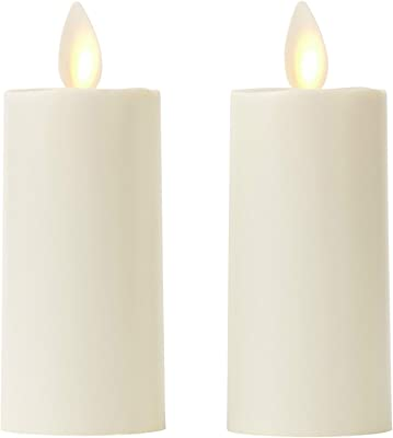 "ZG&HY Set of 2 Votive Flameless Candles: 1.75""x3"" Ivory Unscented Moving Flame Candles with Timer"