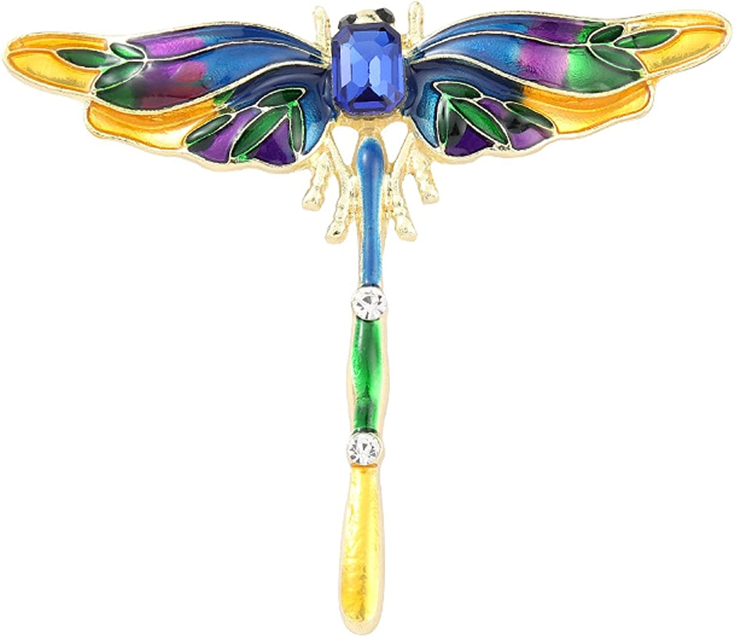 Elegant Dragonfly Enamel Brooch Pin for Women Vintage Lapel Pin Artificial Jewelry Rhinestone Crystal Accessory for Coats Backpacks Badges Hats Bags for Women Girls Gift