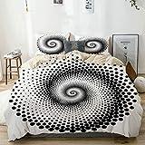 Juego de funda nórdica Beige, puntos negros que forman una espiral monocromática Círculo Twist Elementos de arte óptico, decorativo Juego de cama de 3 piezas con 2 fundas de almohada Fácil cuidado Ant