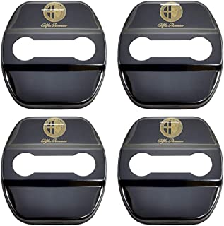 For Alfa Romeo Giulietta Stainless Steel Door Lock Striker Cap Auto Protection Accessories N//A 4Pcs Car Styling Door Lock Cover
