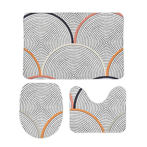 O2ECH-8 3-delige set anti-slip deurmat badkamertapijt grafische geometrie zacht U-vormige matten/stoelafdekking antislip design - geometrie voor deurdecoratie