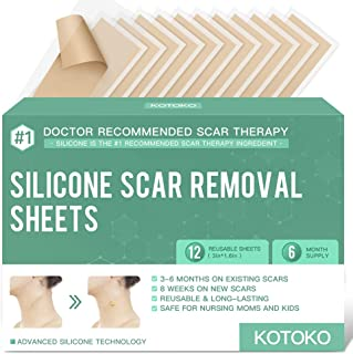 Reusable and Washable Silicone Scar Sheets-12 Sheets,Soften and Flattens Scars Resulting from Surgery,Burns,Acne, C-Sectio...