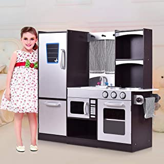 HONEY JOY Kitchen Playset, Wood Kids Play Kitchen with Sink, Stove, Oven, Pretend Cooking Toy Set for Toddles (Coffee)