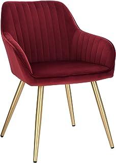 Lestarain 1X Sillas de Comedor Dining Chairs Sillas Tapizadas Paquete de 1 Sillas Cocina Nórdicas Terciopelo Sillas Bar Metal Silla de Oficina Burdeos