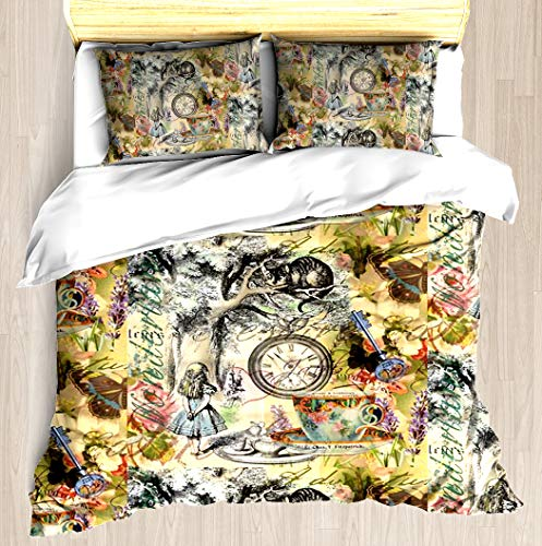 Cheshire Cat Alice in Wonderland - Duvet Cover Set Soft Comforter Cover Pillowcase Bed Set Unique Printed Floral Pattern Design Duvet Covers Blanket Cover Queen/Full Size