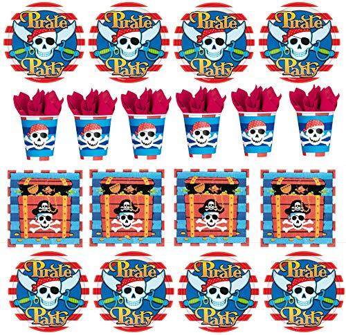 32 TLG. Geschirr Set Piraten Party Pirates Kindergeburtstag Teller Becher Servietten Schatzsuche Party für bis zu 8 Kinder