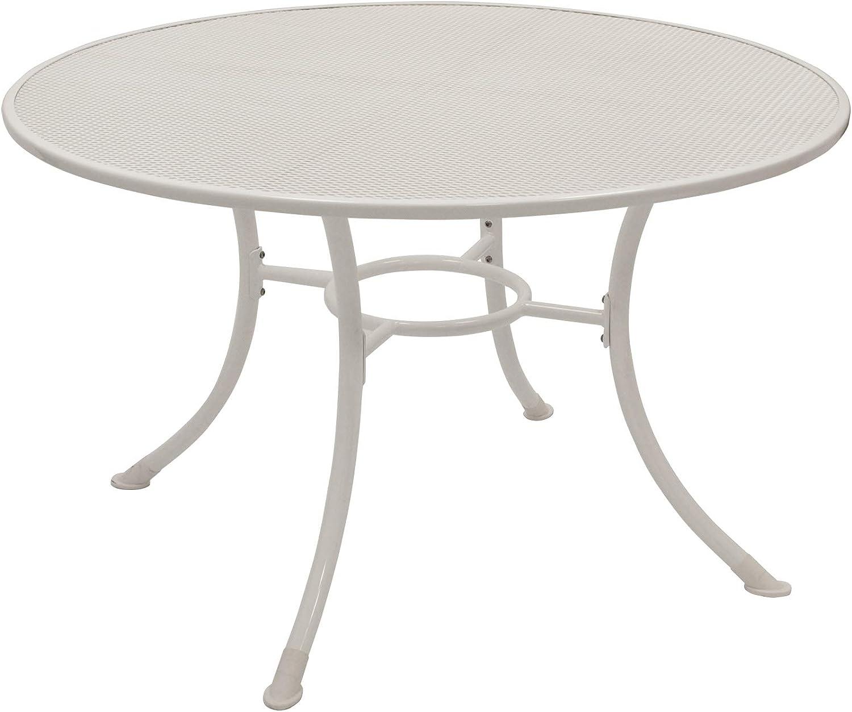 Gartenmoebel-einkauf Streckmetall-Tisch Milano 120cm rund mit stabilem Rundrohrgestell, Weiss