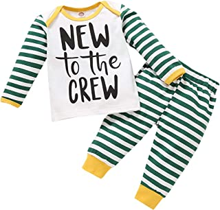 Newborn Baby Boy Clothes New to The Crew Letter Print Sweatshirt Top Striped Trousers Long Pants 2PCS Outfits Set