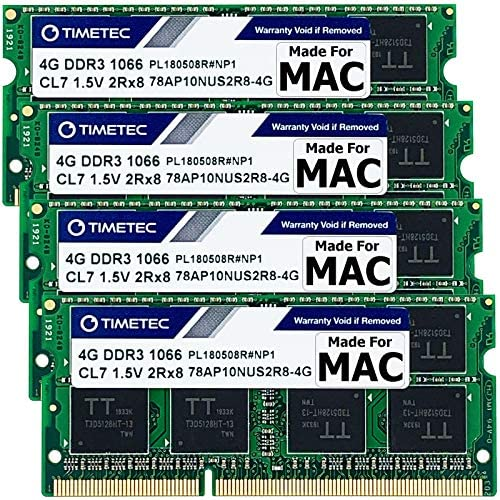 Timetec 8GB Compatible for Apple DDR3 1067MHz / 1066MHz PC3-8500 for Mac Book (Mid 2010 13-inch), Mac Book Pro (Mid 2010 13-inch), iMac (Late 2009 27-inch), Mac Mini (Mid 2010) SODIMM MAC RAM Upgrade