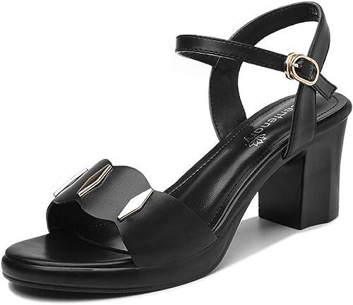 AJUNR Transpirable New de Tacon zapatos de Tacon Alto de Mediana Edad y de Edad Avanzada señoras Madres Sandalias zapatos de mujer Ocio