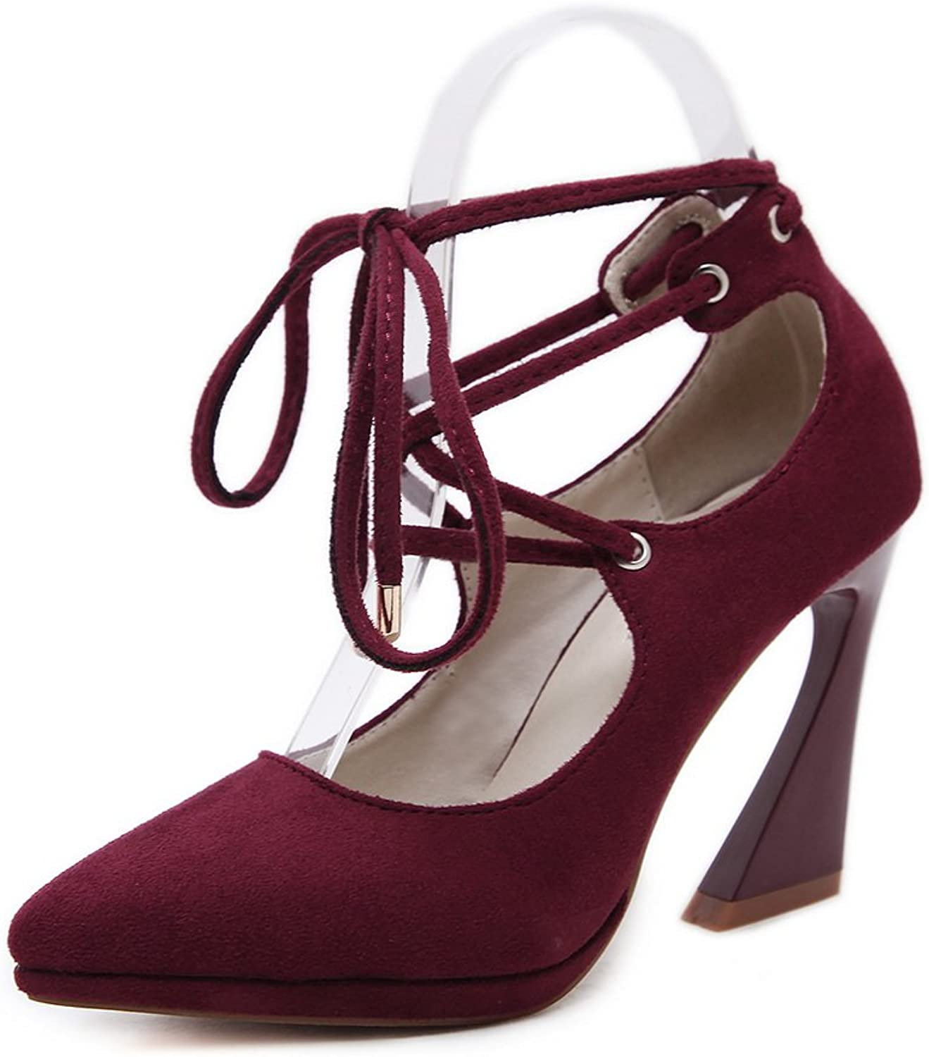 1TO9 Womens Chunky Heels Lace-Up Pointed-Toe Claret Suede Pumps shoes - 4.5 B(M) US