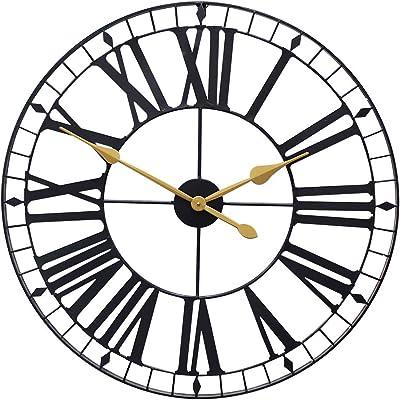 Growsun 32inch Large Wall Clock Pure Metal Heavy Duty Home Decor Farmhouse Living Room Decoration,Black