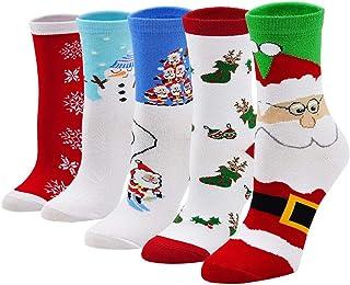 Calcetines de Navidad para Mujeres Calcetines Divertidos con Dibujos de Nieve Papá Noel Calcetines de Algodón para Regalo de Fiesta Navidad, tamaño 35-41, 5 pares