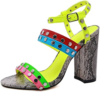 Women Sandals High Heels Rivet Open Toe Summer Shoes Plus Size Buckle Multicolour Snake Party Shoes