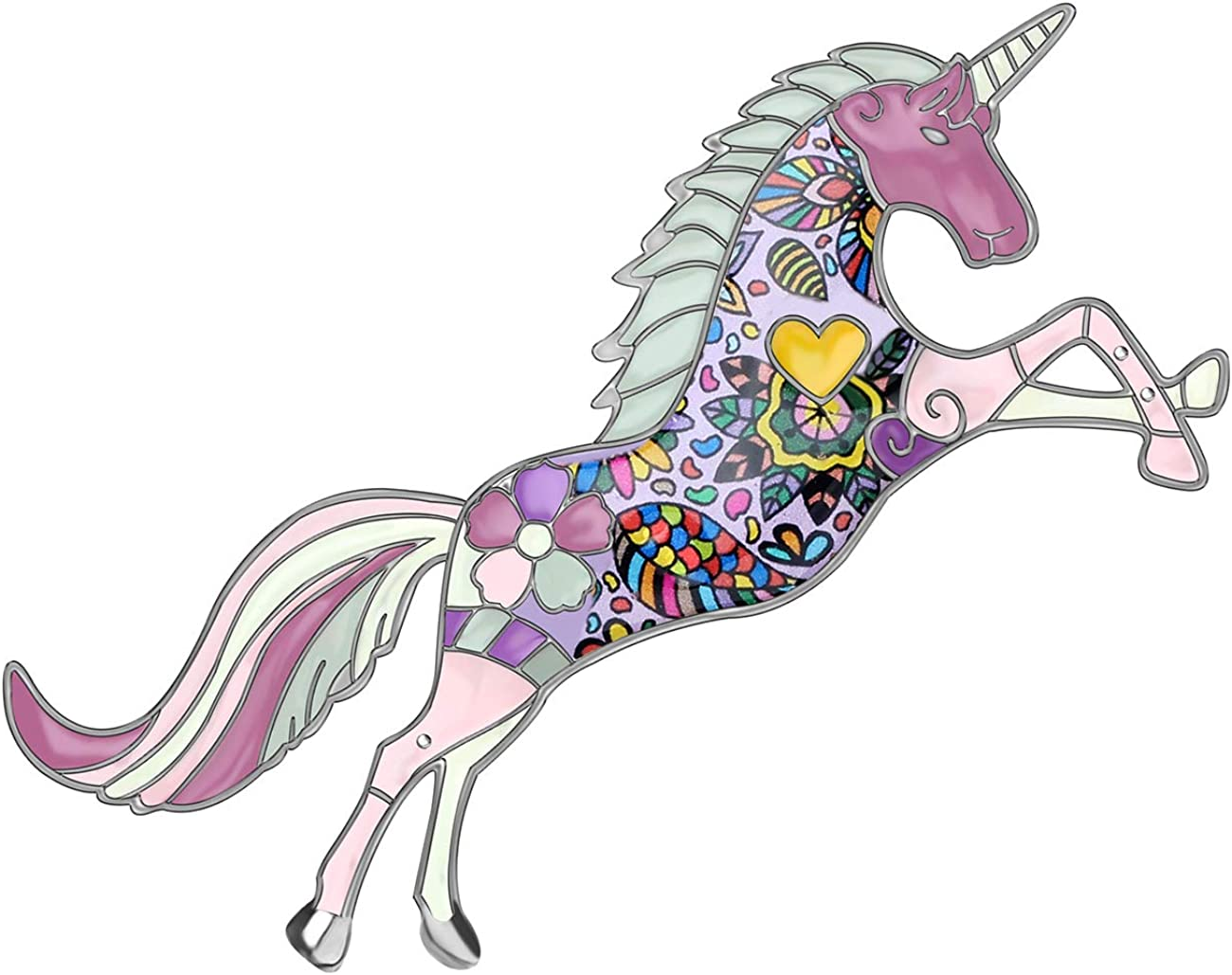 DOWAY Floral Unicorn Brooches Pin Horse Jewelry Great interest for Enamel Women 70% OFF Outlet