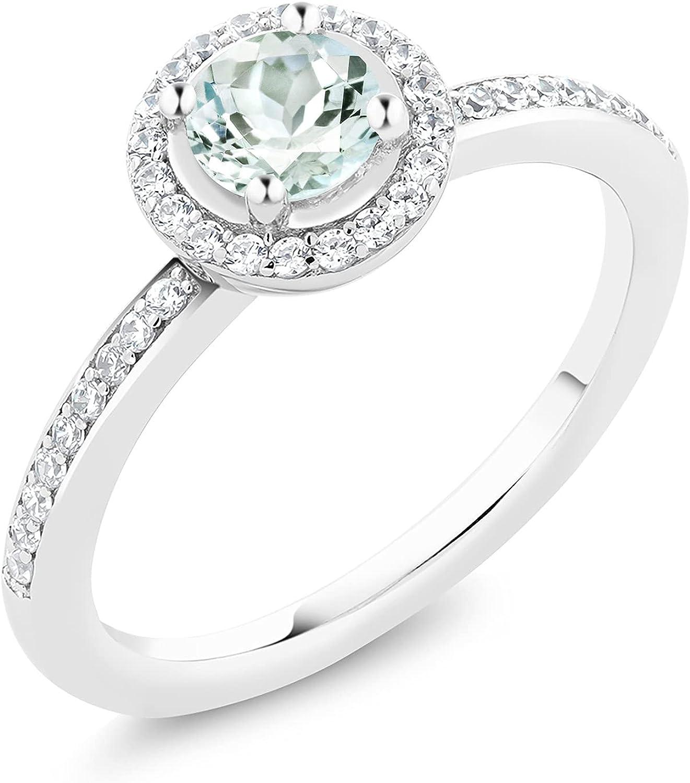 Gem Stone King 925 Atlanta Mall Sterling Aquamarine Silver Engagement Women OFFicial site R