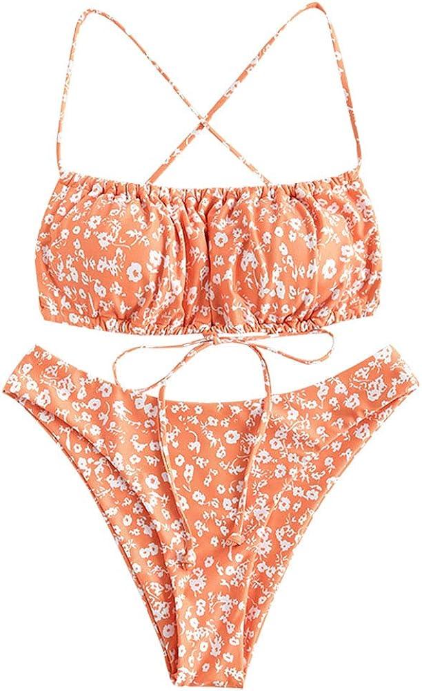 ZAFUL Womens Spaghetti Strap Cutout Keyhole Ruched Tie Cami Bikini Set Swimsuit