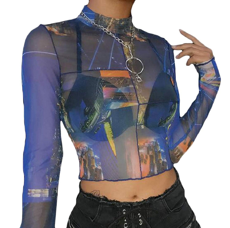 Keaac 女性メッシュシーププシェマティック作物トップは、プリントTシャツロングスリーブTシャツ