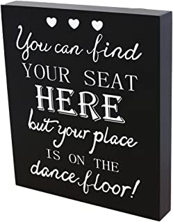 JennyGems Wedding Signs for Place Cards Table, Sign for Seating of Guests, Wedding Reception Sign, Funny Wedding Signs, Directional Wedding Sign