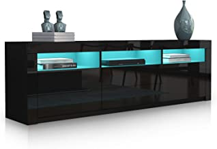 Modern TV Stand Cabinet 160cm Wood Entertainment Unit High Gloss Furniture with 2 Drawers 2 Doors Black