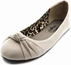 Women's Knotted Front Canvas Round Toe Ballet Flats-Comfortable Cute Dress Flats