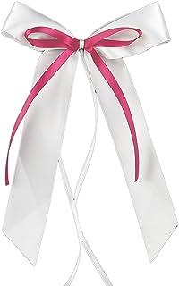 Miya@ hochwertige 30 Weiss & Pink Antenneschleifen aus Satin Autoschmuck Autoschleifen Deko Hochzeit Party