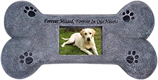 Puppycute Bone Shaped Pet Memorial Stone for Dog, Personalized Tombstone with a Photo Frame, Indoor Outdoor Garden Backyard Grave Marker Headstone for Dogs, Loss of Pet Gift, Dog Memorial Gifts