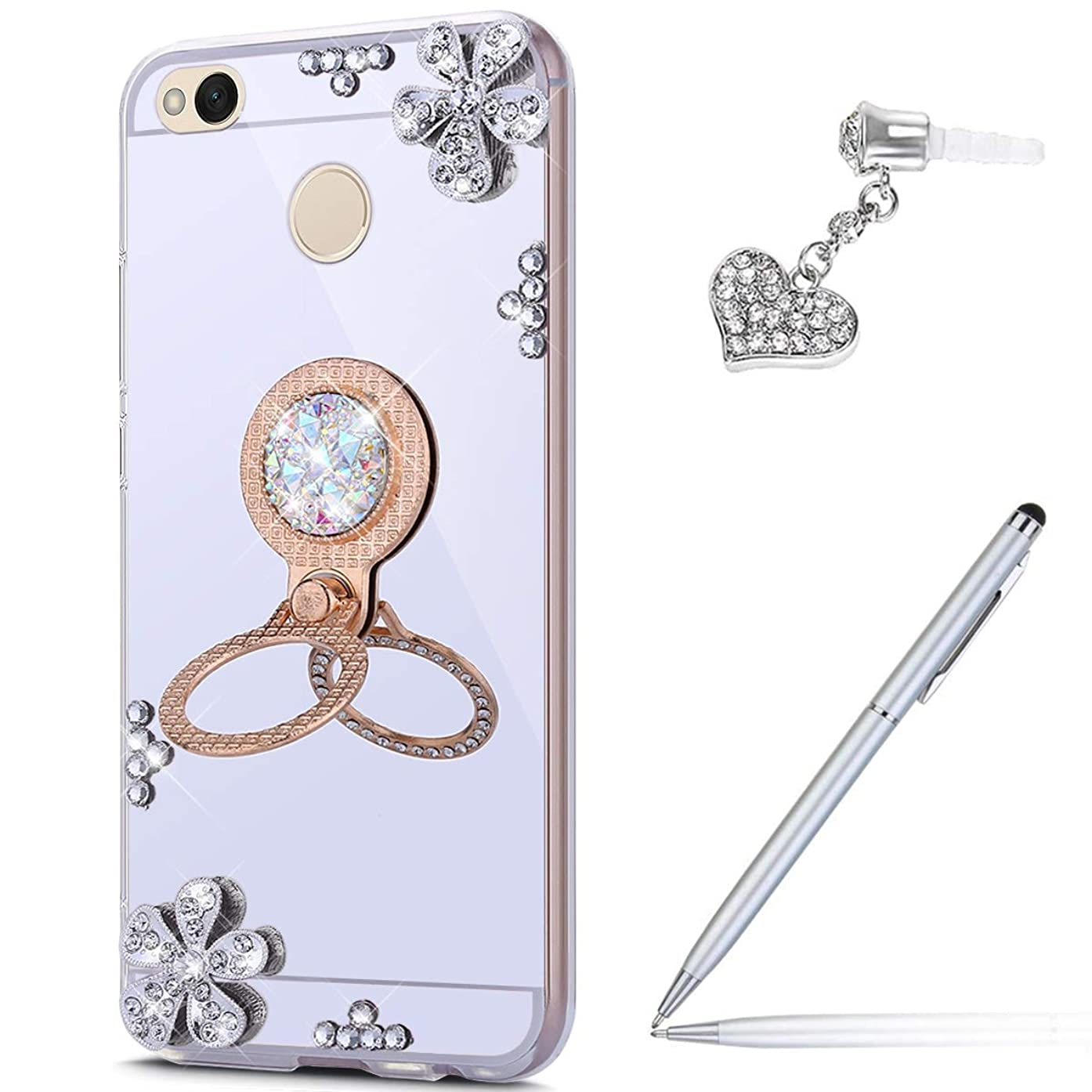Case for Xiaomi Redmi 4X Diamond Case,Crystal Inlaid diamond Flowers Rhinestone Diamond Glitter Bling Mirror Back TPU Case & Ring Stand + Touch Pen Dust Plug for Xiaomi Redmi 4X Mirror Case,Silver