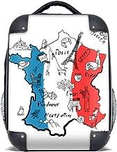 DIYthinker Bandera nacional Mapa de la ciudad Francia Landmark estuche rígido de transporte para hombro Niños Mochila 15