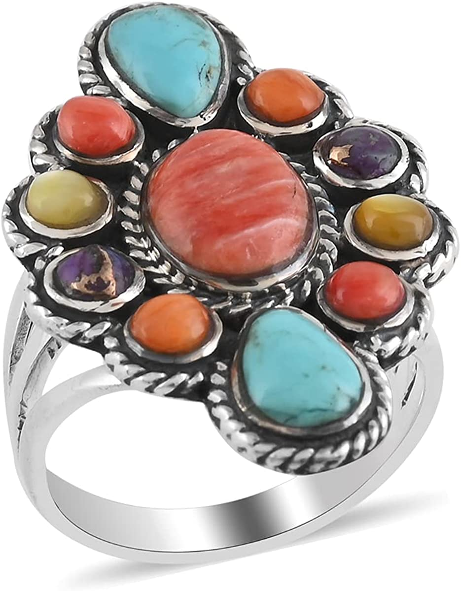 latest Shop LC Santa Fe Style 925 Turquoise Sterling Silver Multi Bombing free shipping Spiny