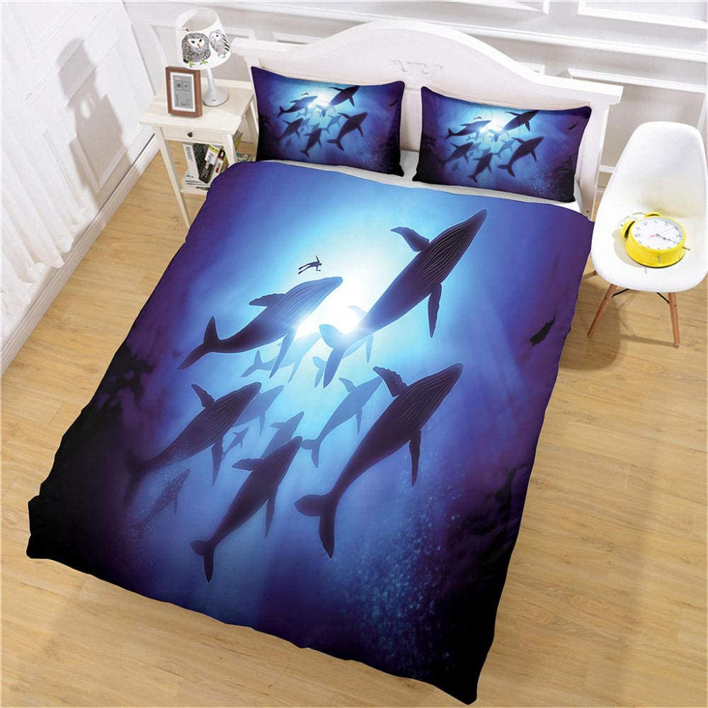 XKSJWY 3D Blue Sea Animals Printed Kids Size Be Cover Duvet Max 80% OFF Branded goods Twin