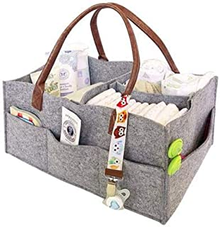 Foldable Durable Waterproof Felt Fabric Nappy Changing Storage Large Capacity Nursery Tote Bag Portable Lightly Multifunct...