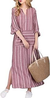Celmia Women Striped Maxi Dresses 3/4 Sleeve Split Kaftan Long Dress V Neck with Pockets