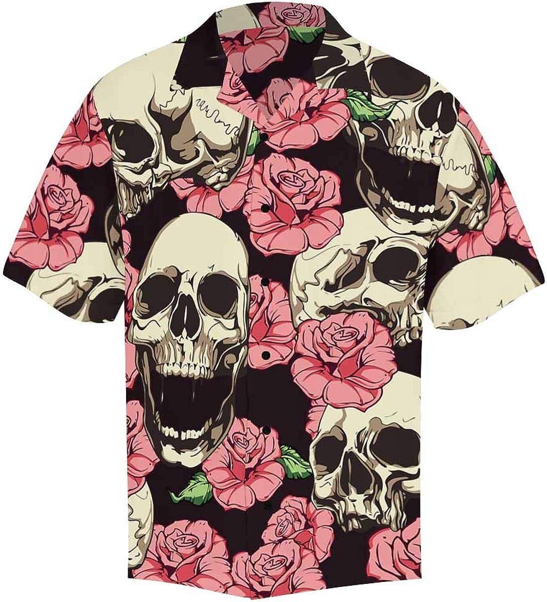 InterestPrint Men's Casual Button Down Short Sleeve Red Rose Skull Hawaiian Shirt (S-5XL)