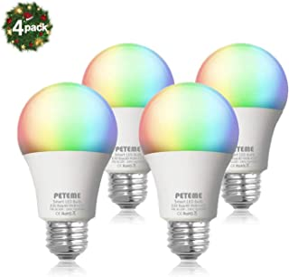 Smart LED Light Bulb E26 WiFi Multicolor Light Bulb Work with Alexa,Siri, Echo, Google Home and IFTTT (No Hub Required), A19 60W Equivalent RGB Color Changing Bulb (4 Pack)