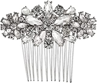 Hapibuy Crystal Wedding Hair Comb Side Bridal Hair Comb Flordal Headpiece Hair Jewelry for Brides and Bridesmaids (Sliver)