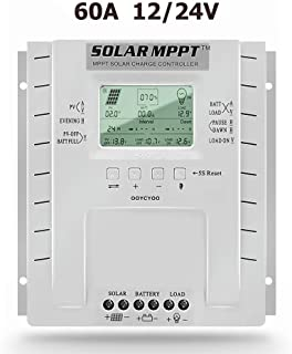 OOYCYOO MPPT Charge Controller 60 amp 12V/24V Auto Max 100VDC Input,60A Solar Panel Charge Regulator with LCD Display for Lead-Acid Sealed Gel AGM Flooded Lithium Battery,with Load Timer Setting