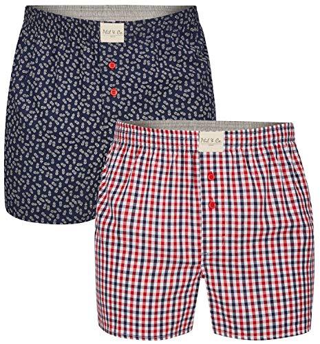 Phil & Co. Berlin 2 Stück Herren Webboxer Boxershorts American Shorts Boxer Unterhosen gewebt kariert, Grösse:M, Farbe:Design 03