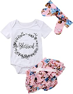 Infant Baby Girls Floral Outfit Set Blessed Print Romper Floral Ruffle Shorts Clothes with Headband